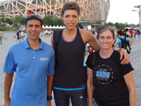 Blanka Vlasic (middle) with Amol and Karen Saxena