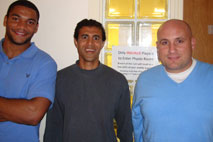 Amol with UK Professional Soccer Player Miles Addison (L) & his Physio Neil Sullivan (R)